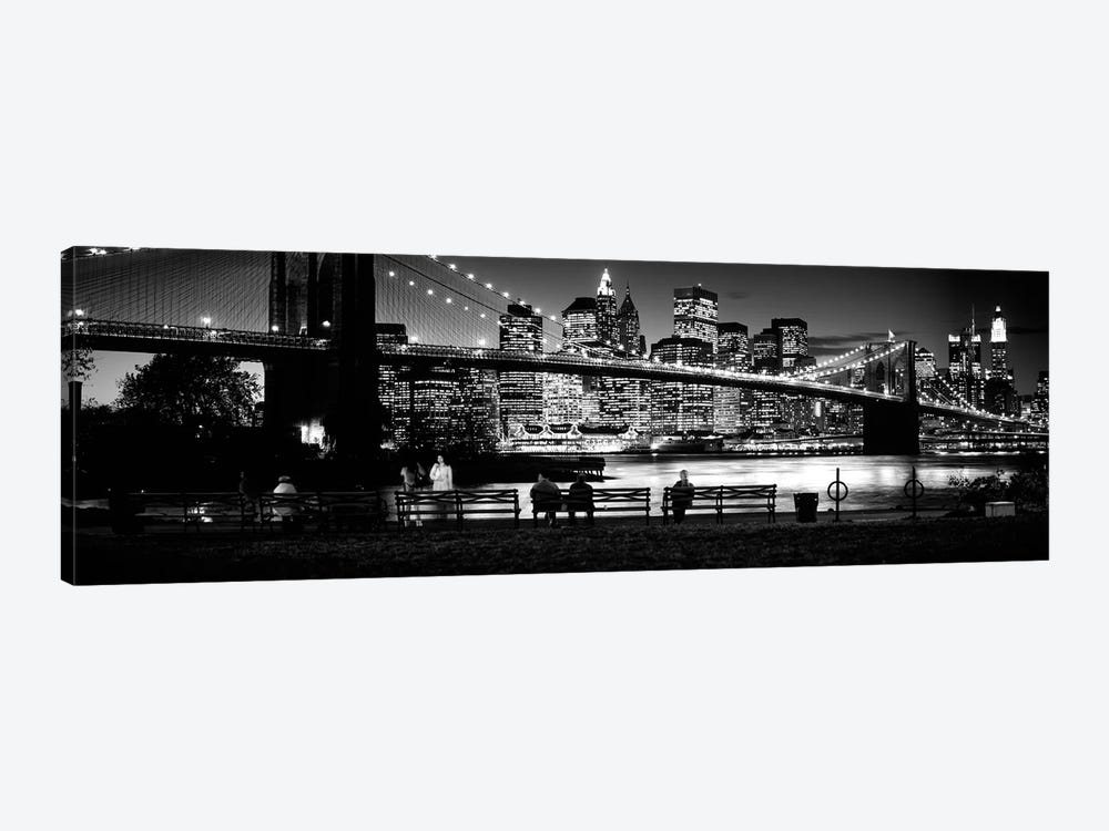 Suspension Bridge Lit Up At Dusk, Brooklyn Bridge, East River, Manhattan, New York City, New York State, USA by Panoramic Images 1-piece Canvas Art Print