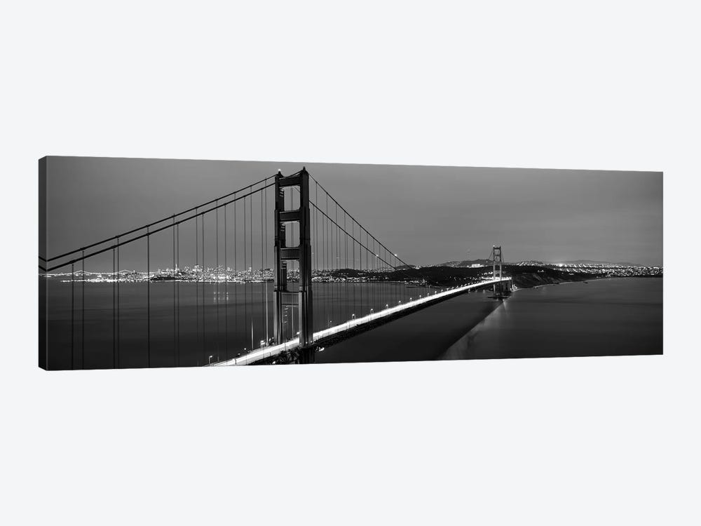 Suspension Bridge Lit Up At Dusk, Golden Gate Bridge, San Francisco, California, USA by Panoramic Images 1-piece Canvas Art
