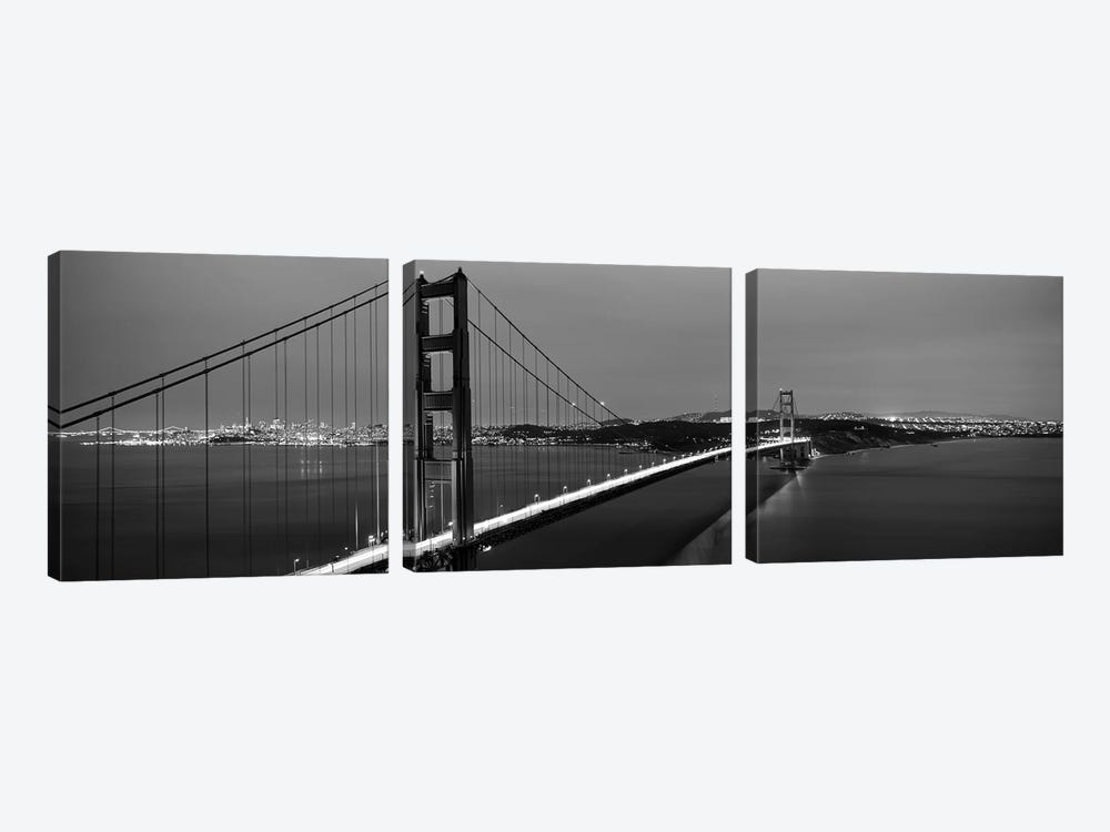 Suspension Bridge Lit Up At Dusk, Golden Gate Bridge, San Francisco, California, USA by Panoramic Images 3-piece Canvas Artwork