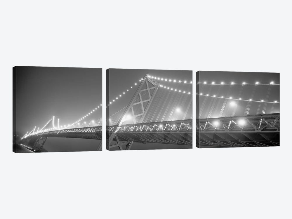 Suspension Bridge Lit Up At Night, Bay Bridge, San Francisco, California, USA by Panoramic Images 3-piece Canvas Print