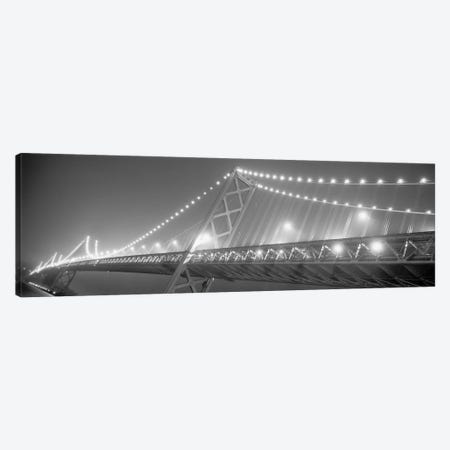 Suspension Bridge Lit Up At Night, Bay Bridge, San Francisco, California, USA 3-Piece Canvas #PIM15246} by Panoramic Images Art Print