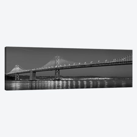 Suspension Bridge Over Pacific Ocean Lit Up At Dusk, Bay Bridge, San Francisco Bay, San Francisco, California, USA Canvas Print #PIM15247} by Panoramic Images Canvas Art Print