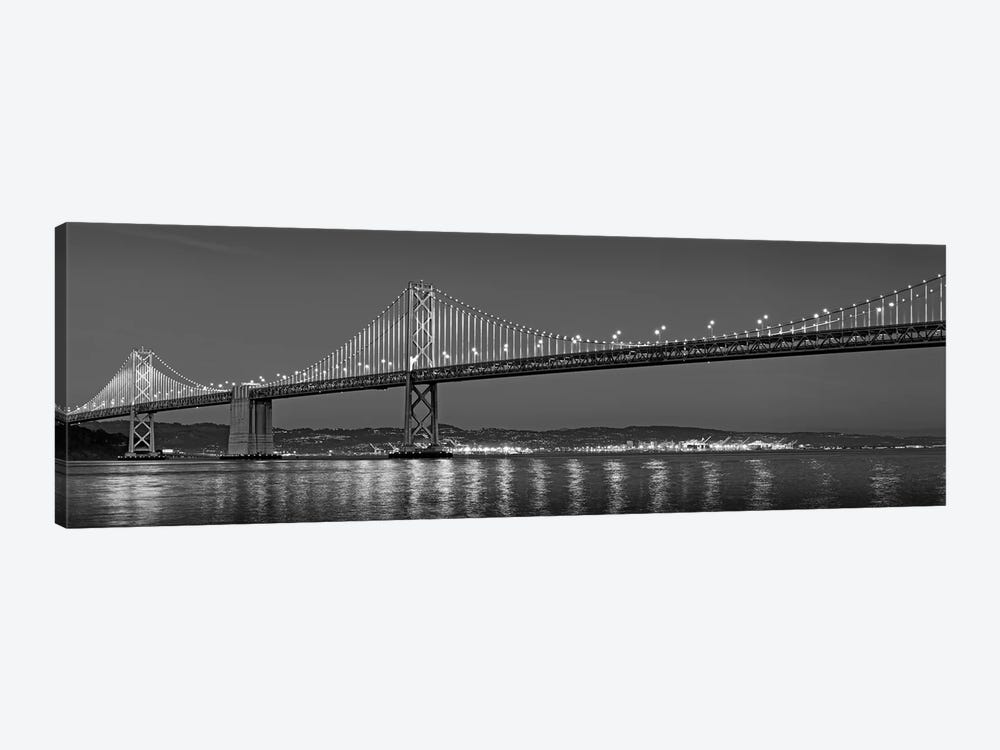 Suspension Bridge Over Pacific Ocean Lit Up At Dusk, Bay Bridge, San Francisco Bay, San Francisco, California, USA 1-piece Canvas Wall Art