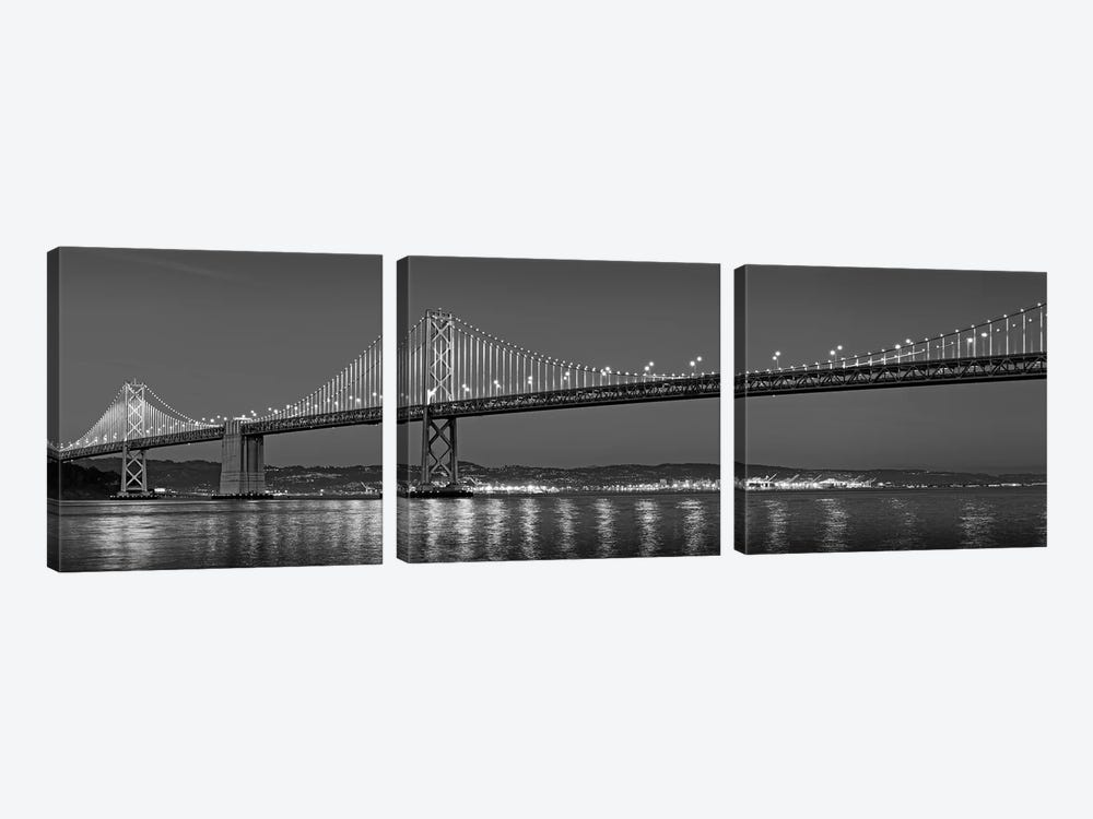 Suspension Bridge Over Pacific Ocean Lit Up At Dusk, Bay Bridge, San Francisco Bay, San Francisco, California, USA by Panoramic Images 3-piece Canvas Wall Art