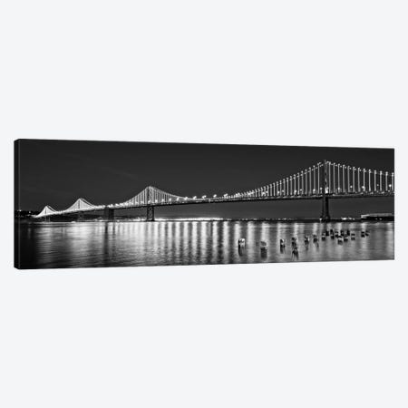 Suspension Bridge Over Pacific Ocean Lit Up At Night, Bay Bridge, San Francisco Bay, San Francisco, California, USA Canvas Print #PIM15248} by Panoramic Images Canvas Artwork