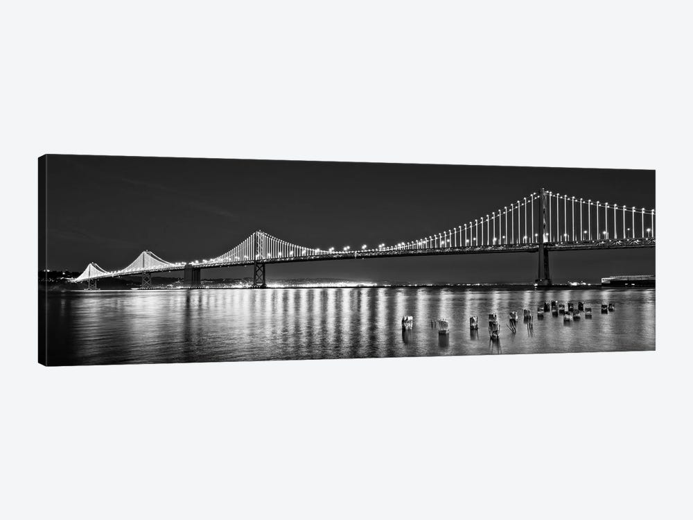 Suspension Bridge Over Pacific Ocean Lit Up At Night, Bay Bridge, San Francisco Bay, San Francisco, California, USA by Panoramic Images 1-piece Art Print