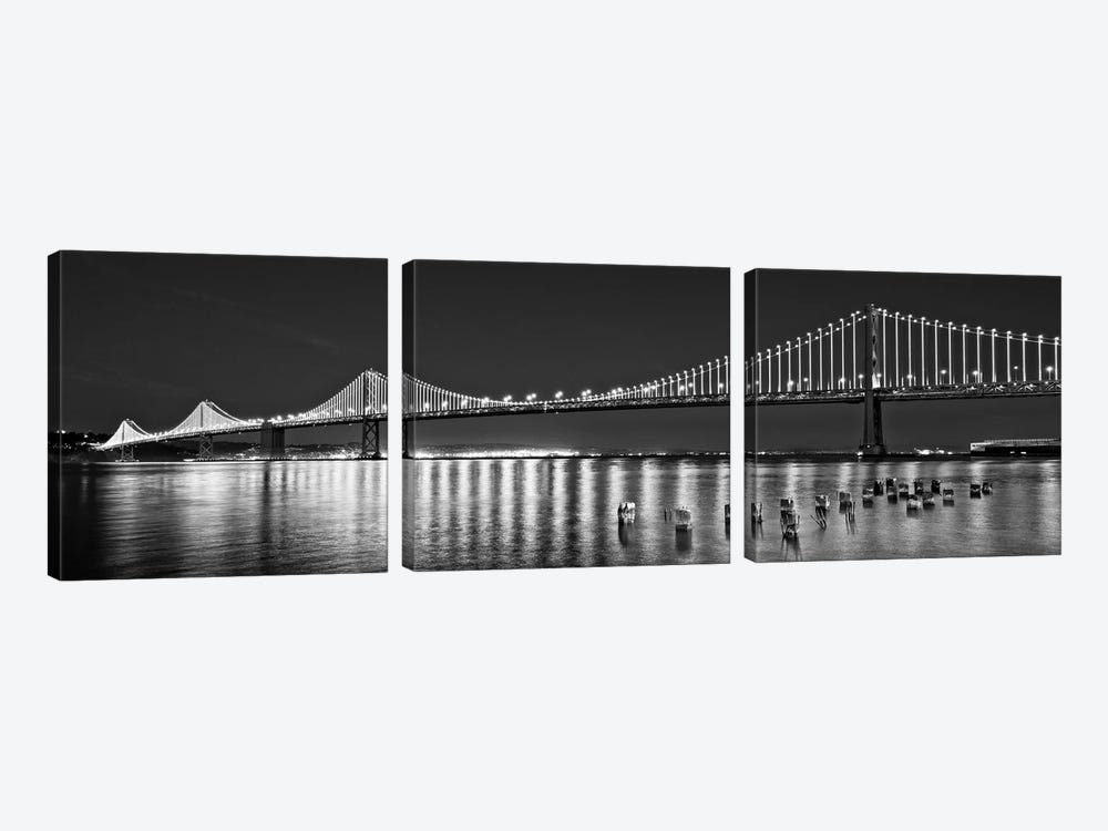 Suspension Bridge Over Pacific Ocean Lit Up At Night, Bay Bridge, San Francisco Bay, San Francisco, California, USA by Panoramic Images 3-piece Canvas Print
