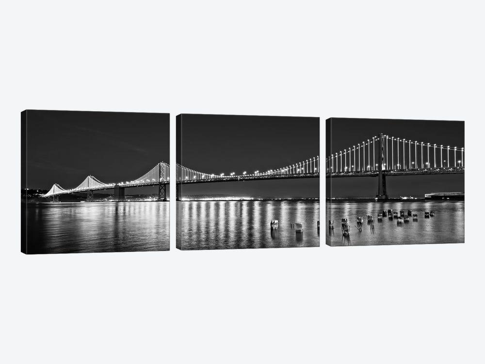 Suspension Bridge Over Pacific Ocean Lit Up At Night, Bay Bridge, San Francisco Bay, San Francisco, California, USA by Panoramic Images 3-piece Canvas Print