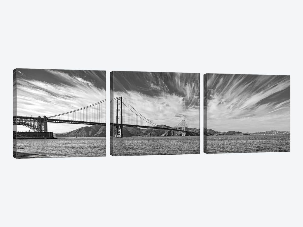 Suspension Bridge Over Pacific Ocean, Golden Gate Bridge, San Francisco Bay, San Francisco, California, USA by Panoramic Images 3-piece Canvas Wall Art