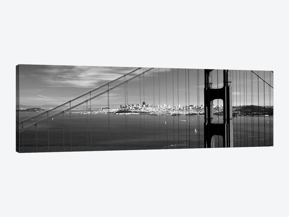 Suspension Bridge With A City In The Background, Golden Gate Bridge, San Francisco, California, USA by Panoramic Images 1-piece Canvas Wall Art