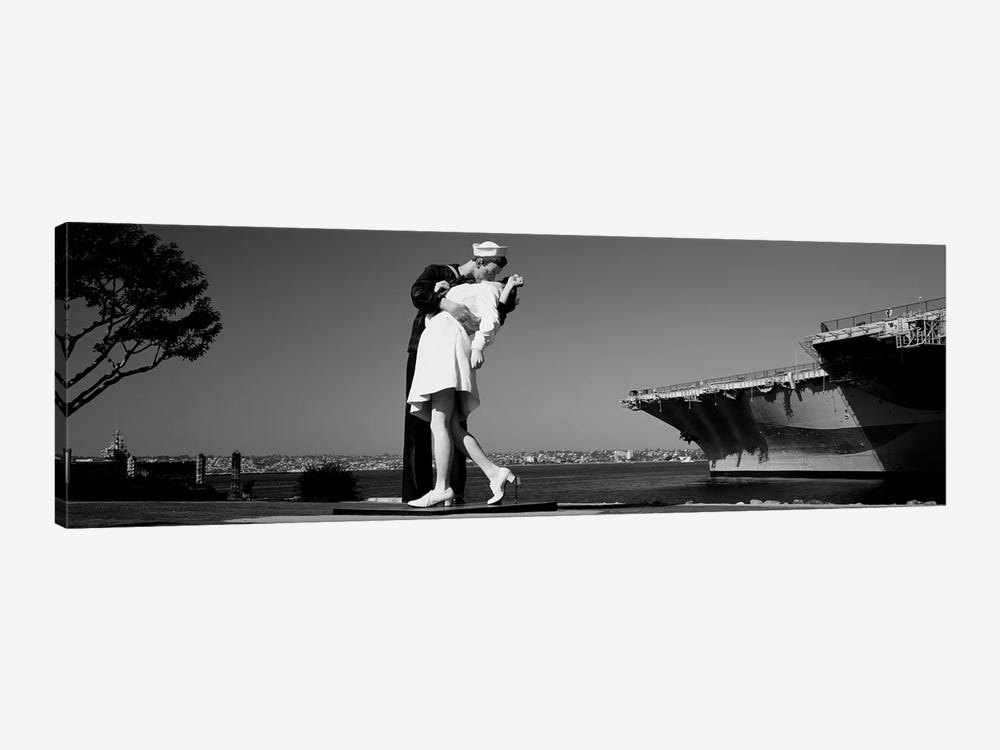 The Kiss Between A Sailor And A Nurse Sculpture, San Diego Aircraft Carrier Museum, San Diego, California, USA by Panoramic Images 1-piece Canvas Print