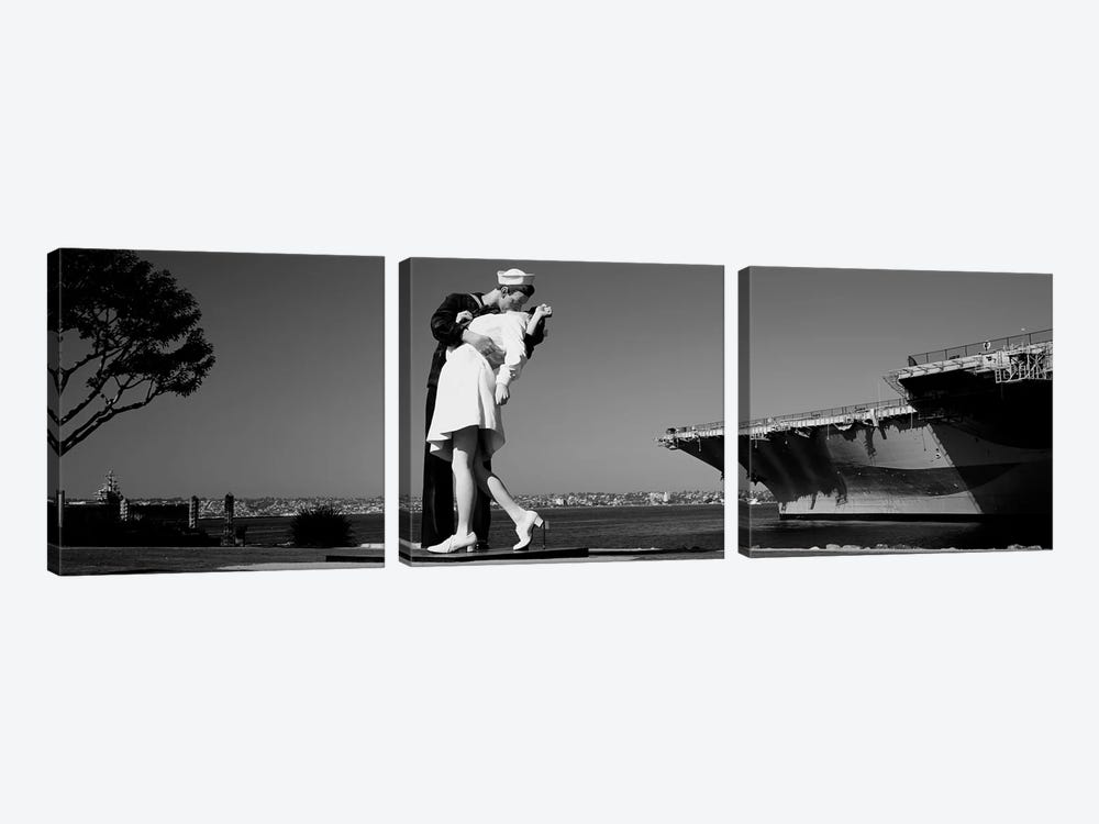 The Kiss Between A Sailor And A Nurse Sculpture, San Diego Aircraft Carrier Museum, San Diego, California, USA by Panoramic Images 3-piece Art Print