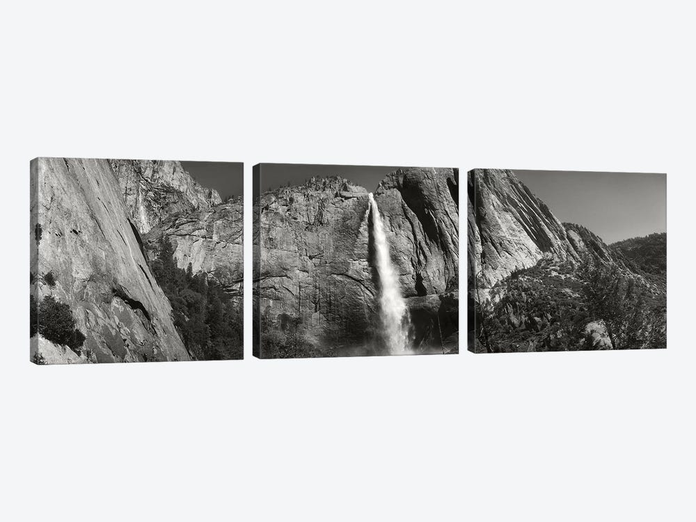 Water Falling From Rocks In A Forest, Bridalveil Fall, Yosemite Valley, Yosemite National Park, California, USA by Panoramic Images 3-piece Art Print