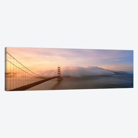 Golden Gate Bridge And Fog San Francisco CA Canvas Print #PIM15274} by Panoramic Images Canvas Wall Art
