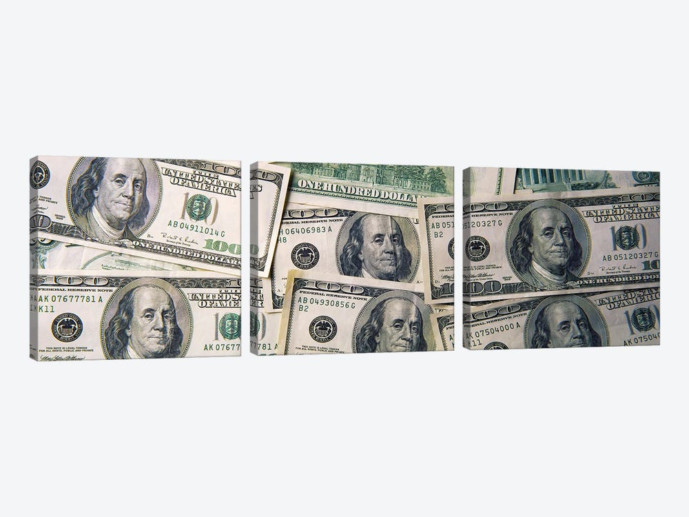 Close-Up Of One Hundred Dollar Bills by Panoramic Images 3-piece Canvas Print