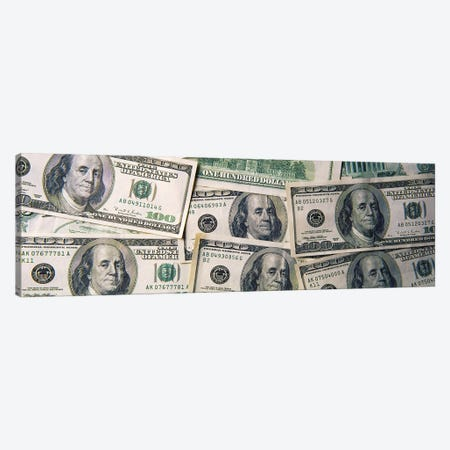 Close-Up Of One Hundred Dollar Bills Canvas Print #PIM15277} by Panoramic Images Canvas Artwork