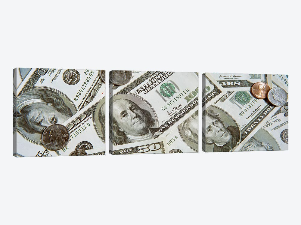 Dollars And Cents Currency US by Panoramic Images 3-piece Canvas Wall Art