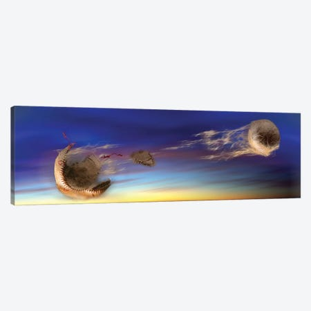 Baseball Coming Apart In Space 3-Piece Canvas #PIM15299} by Panoramic Images Canvas Print