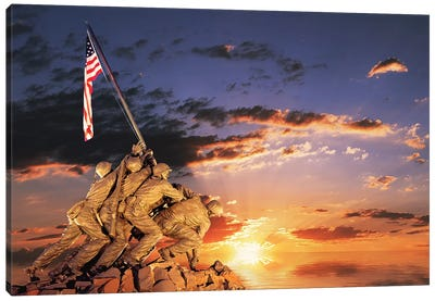 War Memorial At Sunrise, Iwo Jima Memorial, Rosslyn, Arlington, VA, Usa Canvas Art Print