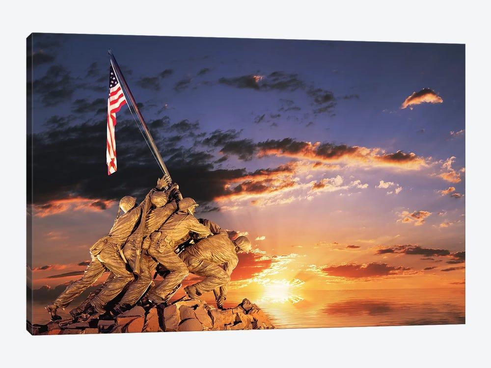 War Memorial At Sunrise, Iwo Jima Memorial, Rosslyn, Arlington, VA, Usa by Panoramic Images 1-piece Canvas Art