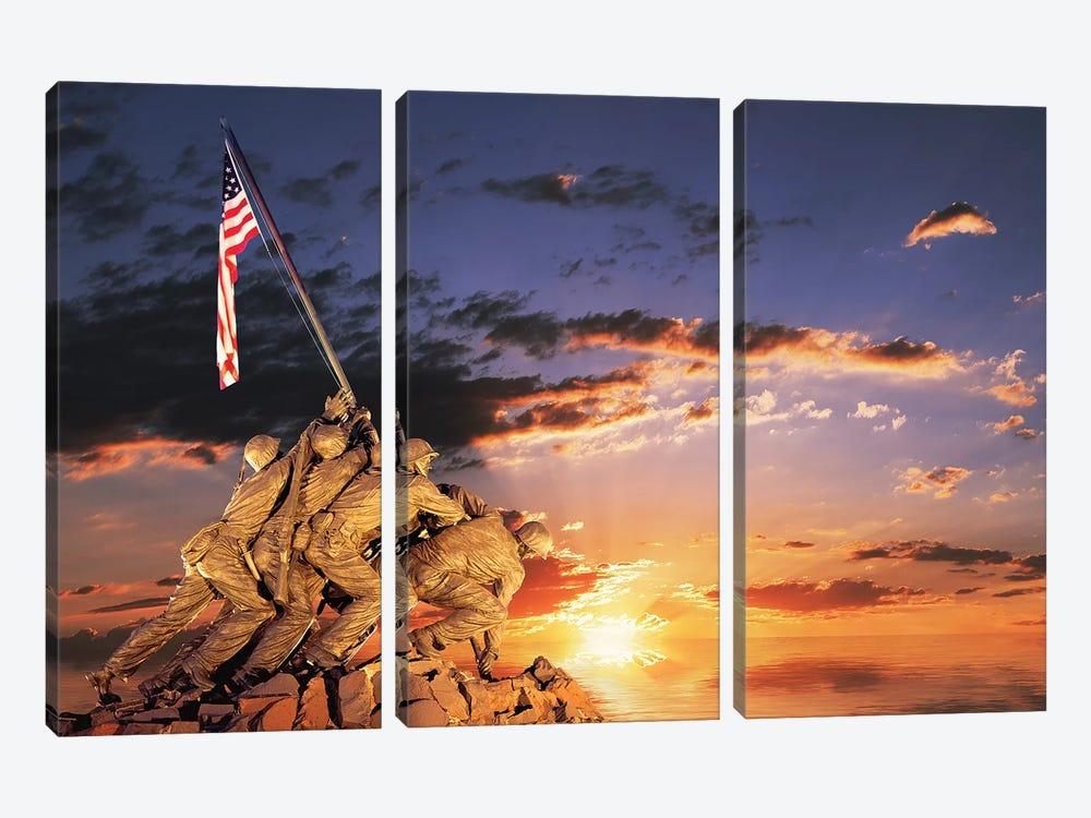War Memorial At Sunrise, Iwo Jima Memorial, Rosslyn, Arlington, VA, Usa by Panoramic Images 3-piece Canvas Artwork
