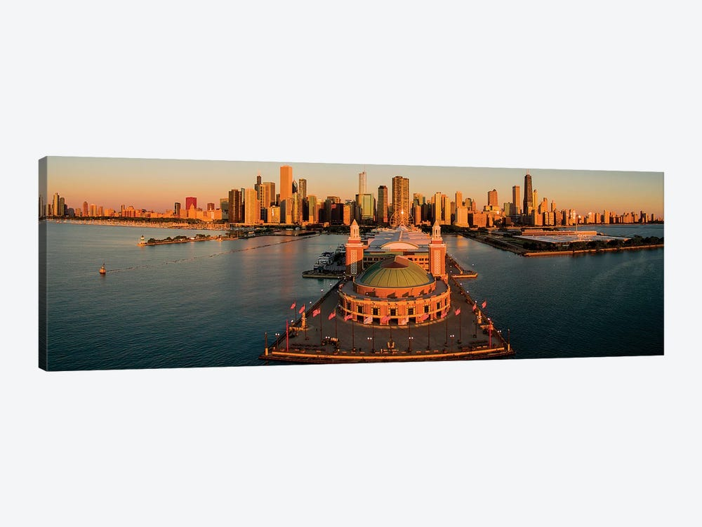 Elevated View Of The Navy Pier, Chicago, IL, USA by Panoramic Images 1-piece Canvas Art Print