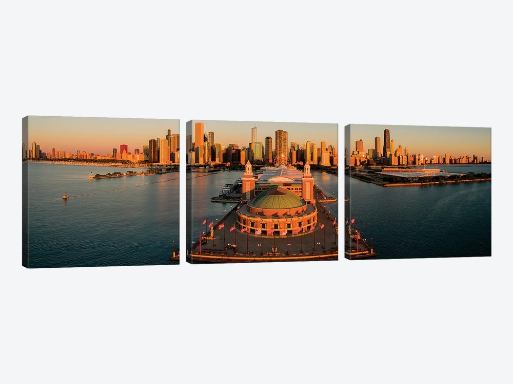 Elevated View Of The Navy Pier, Chicago, IL, USA by Panoramic Images 3-piece Canvas Art Print