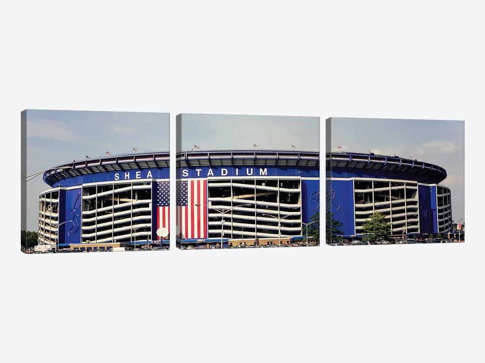 Facade Of Shea Stadium, Queens, New York City, NY, USA by Panoramic Images 3-piece Canvas Artwork