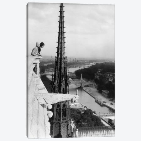 1920s Two Women Looking Out From Top Of Notre Dame Cathedral Paris France Canvas Print #PIM15324} by Panoramic Images Canvas Artwork