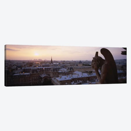 Chimera Sculpture With A Cityscape In The Background, Galerie Des Chimeres, Notre Dame, Paris, Ile-De-France, France Canvas Print #PIM15325} by Panoramic Images Canvas Art