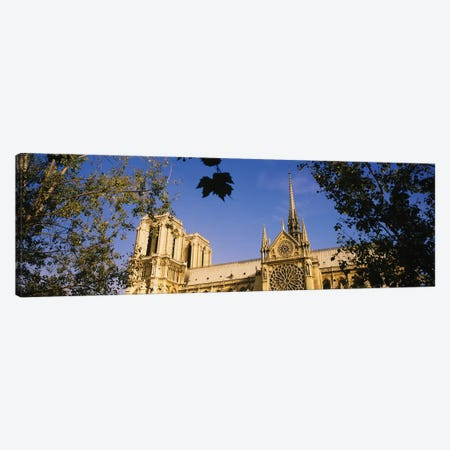 Low Angle View Of A Cathedral, Notre Dame Cathedral, Paris, France Canvas Print #PIM15329} by Panoramic Images Art Print