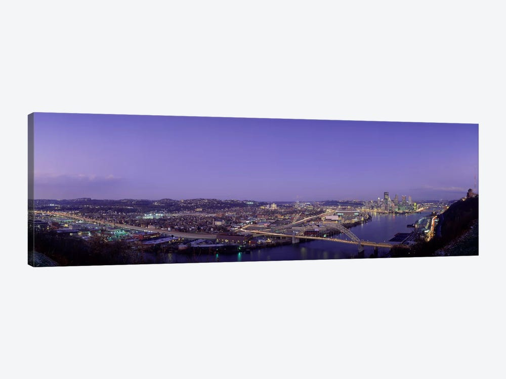 Aerial view of a city, Pittsburgh, Allegheny County, Pennsylvania, USA by Panoramic Images 1-piece Canvas Print