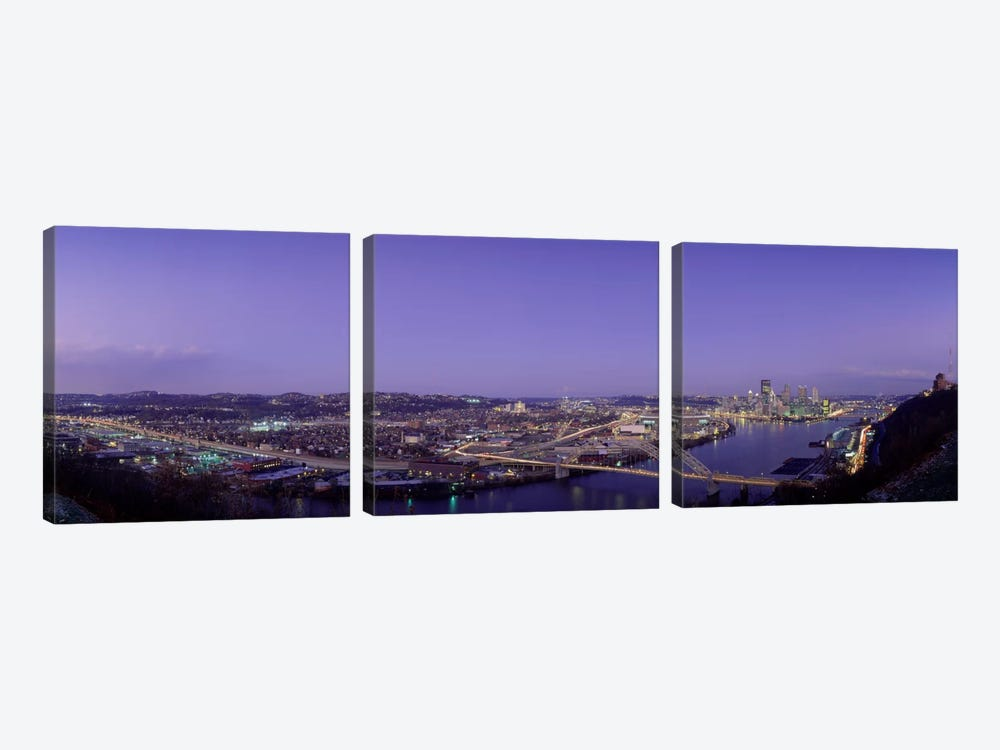 Aerial view of a city, Pittsburgh, Allegheny County, Pennsylvania, USA by Panoramic Images 3-piece Canvas Art Print