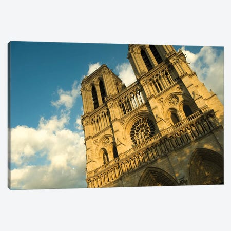 Low Angle View Of A Cathedral, Notre Dame, Paris, Ile-De-France, France Canvas Print #PIM15331} by Panoramic Images Canvas Artwork