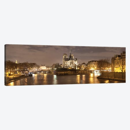 Notre Dame And Eiffel Tower At Dusk, Paris, Ile-De-France, France Canvas Print #PIM15334} by Panoramic Images Canvas Print