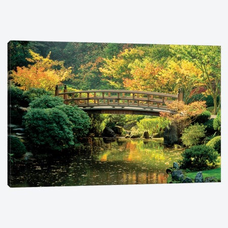"""Autumn at the Moon Bridge"", Japanese Garden, Portland, Oregon, USA Canvas Print #PIM15337} by Panoramic Images Art Print"