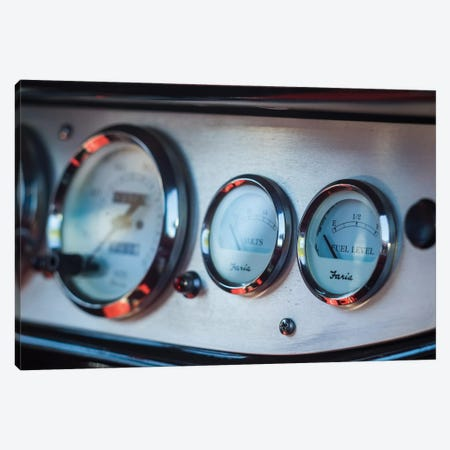 1930's-era car exterior radiator temperature gauge, Gloucester, Cape Ann, Essex County, Massachusetts, USA Canvas Print #PIM15339} by Panoramic Images Canvas Wall Art
