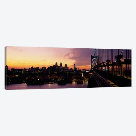 Bridge over a river, Benjamin Franklin Bridge, Philadelphia, Pennsylvania, USA Canvas Print #PIM1533} by Panoramic Images Canvas Art Print