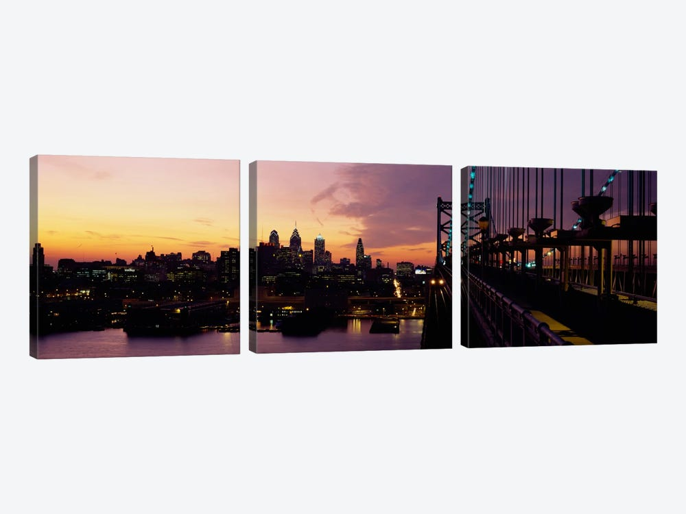 Bridge over a river, Benjamin Franklin Bridge, Philadelphia, Pennsylvania, USA by Panoramic Images 3-piece Canvas Wall Art