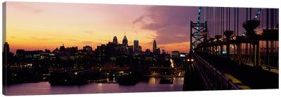 Bridge over a river, Benjamin Franklin Bridge, Philadelphia, Pennsylvania, USA Canvas Art Print