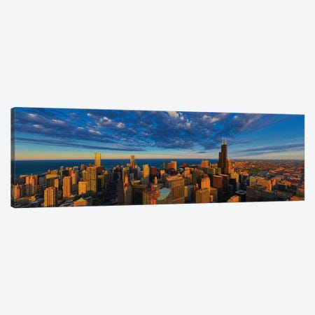 Aerial view of cityscape at the waterfront, Lake Michigan, Chicago, Cook County, Illinois, USA Canvas Print #PIM15345} by Panoramic Images Canvas Art