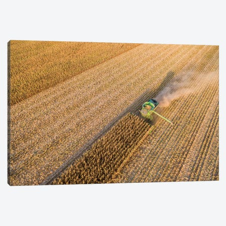 Aerial view of combine harvesting corn crop, Marion County, Illinois, USA Canvas Print #PIM15347} by Panoramic Images Canvas Artwork