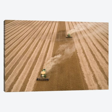 Aerial view of combine harvesting soybean crop, Marion County, Illinois, USA Canvas Print #PIM15348} by Panoramic Images Art Print
