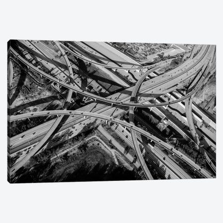 Aerial view of freeway interchange, City Of Los Angeles, Los Angeles County, California, USA 3-Piece Canvas #PIM15349} by Panoramic Images Art Print