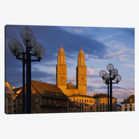 Low angle view of a church, Grossmunster, Zurich, Switzerland Canvas Print #PIM1534} by Panoramic Images Canvas Art