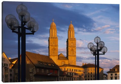 Low angle view of a church, Grossmunster, Zurich, Switzerland Canvas Art Print