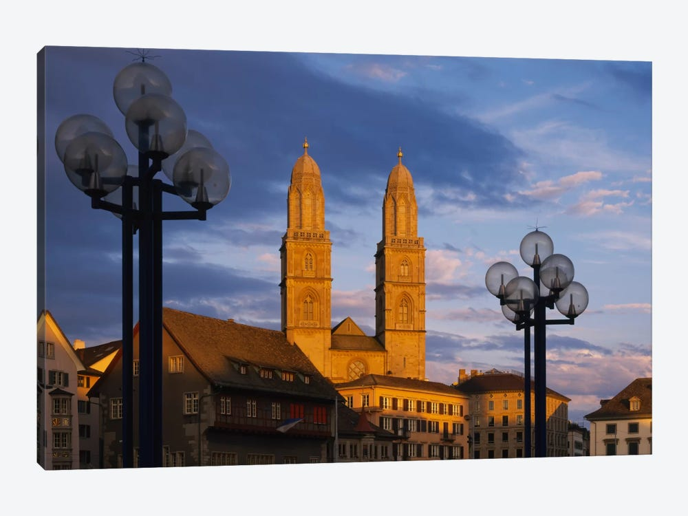 Low angle view of a church, Grossmunster, Zurich, Switzerland by Panoramic Images 1-piece Art Print