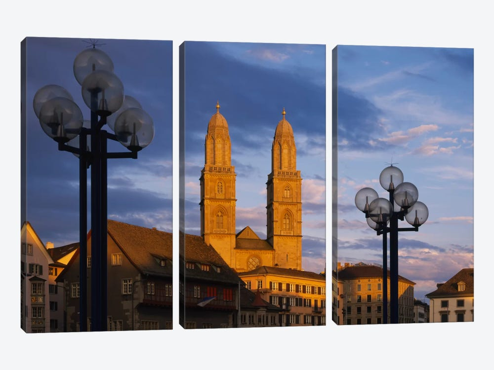 Low angle view of a church, Grossmunster, Zurich, Switzerland by Panoramic Images 3-piece Canvas Art Print
