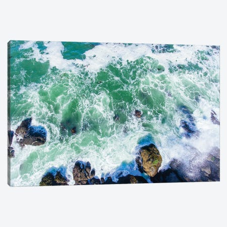 Aerial view of the beach, Newport, Lincoln County, Oregon, USA Canvas Print #PIM15351} by Panoramic Images Canvas Wall Art
