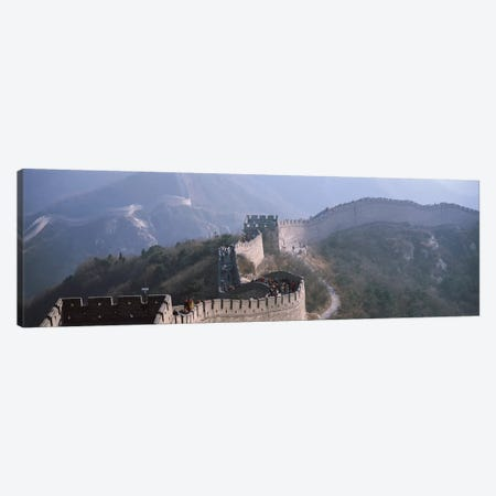 Aerial view of tourists walking on a wall, Great Wall Of China, Beijing, China 3-Piece Canvas #PIM15355} by Panoramic Images Canvas Print